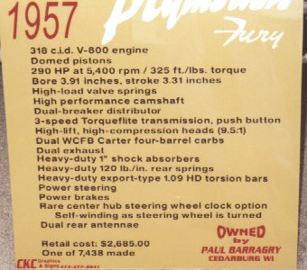 57 Plymouth Fury Information